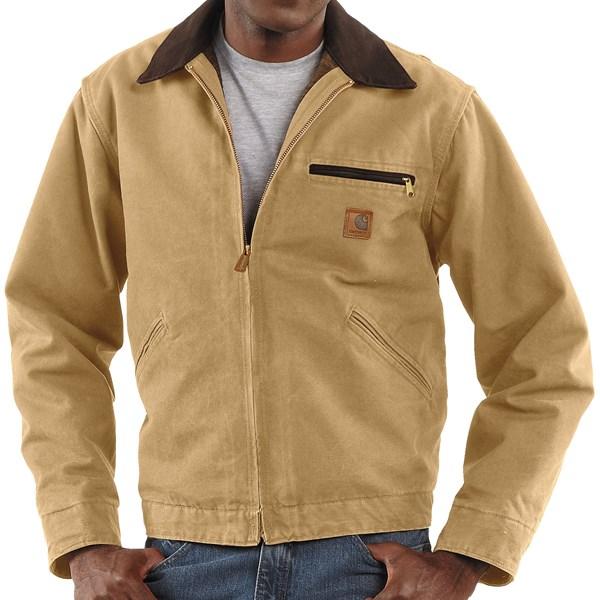 Imbracaminte Barbati Carhartt Detroit Jacket - Sandstone Blanket-Lined WORN BROWN (14)
