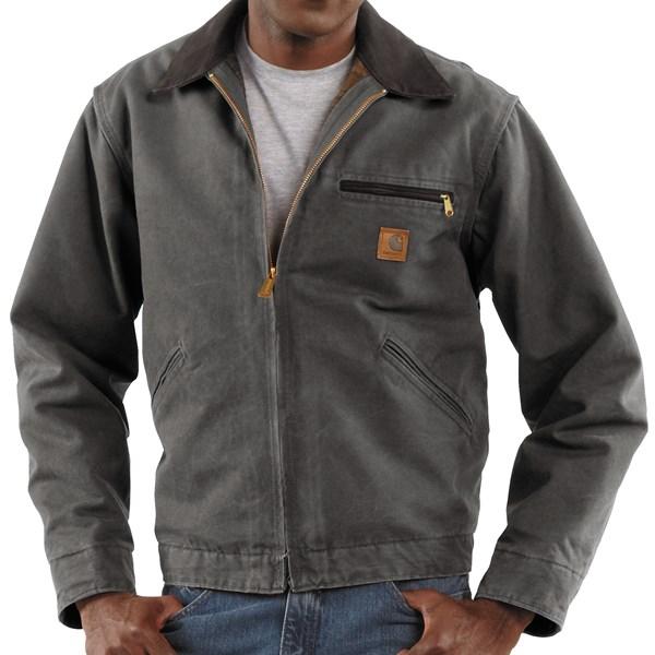 Imbracaminte Barbati Carhartt Detroit Jacket - Sandstone Blanket-Lined GRAVEL (07)