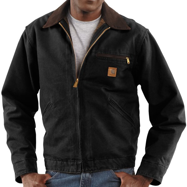 Imbracaminte Barbati Carhartt Detroit Jacket - Sandstone Blanket-Lined BLACK (06)