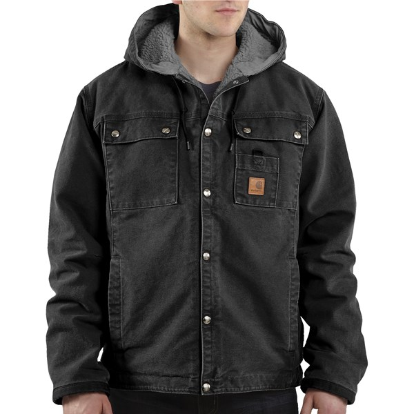Imbracaminte Barbati Carhartt Sandstone Hooded Multi-Pocket Jacket - Sherpa Lined (For Tall Men) BLACK (04)