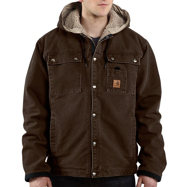 Imbracaminte Barbati Carhartt Sandstone Hooded Multi-Pocket Jacket - Sherpa Lined (For Tall Men) DARK BROWN (09)