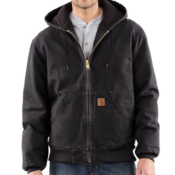 Imbracaminte Barbati Carhartt Sandstone Active Jacket - Washed Duck (For Big Men) BLACK (27)