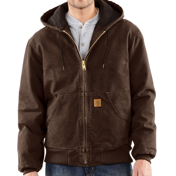 Imbracaminte Barbati Carhartt Sandstone Active Jacket - Washed Duck (For Big Men) DARK BROWN (40)