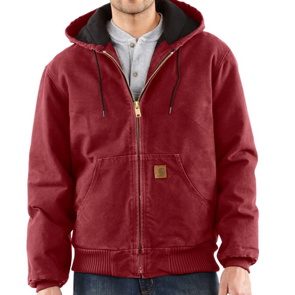 Imbracaminte Barbati Carhartt Sandstone Active Jacket - Washed Duck (For Big Men) DARK RED (13)