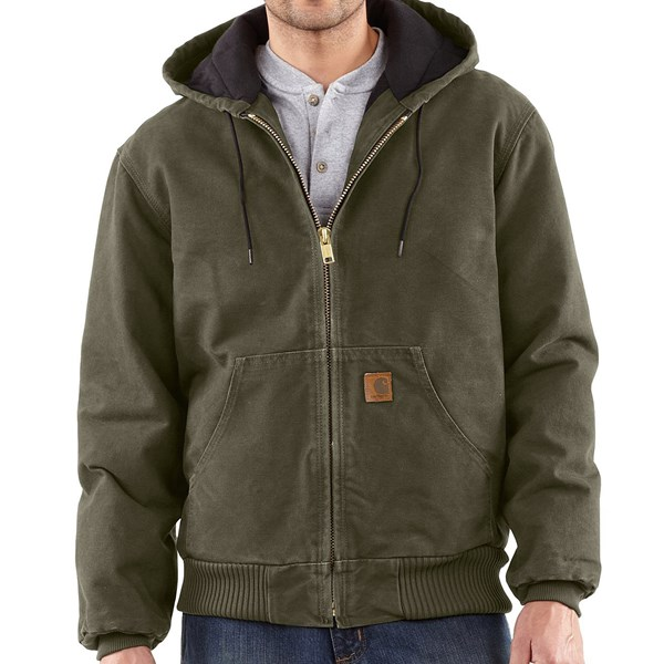 Imbracaminte Barbati Carhartt Sandstone Active Jacket - Washed Duck (For Big Men) ARMY GREEN (10)