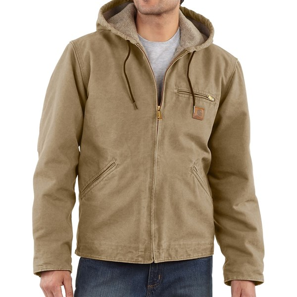 Imbracaminte Barbati Carhartt Sandstone Sierra Jacket - Sherpa Pile Lining (For Big Men) COTTONWOOD (08)
