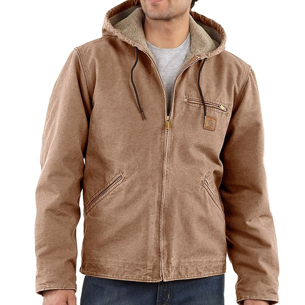 Imbracaminte Barbati Carhartt Sandstone Sierra Jacket - Sherpa Pile Lining (For Big Men) FRONTIER BROWN (10)
