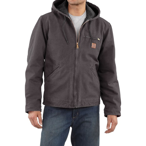Imbracaminte Barbati Carhartt Sandstone Sierra Jacket - Sherpa Pile Lining (For Big Men) SHADOW (13)