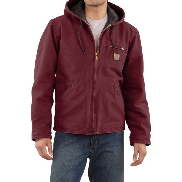 Imbracaminte Barbati Carhartt Sandstone Sierra Jacket - Sherpa Pile Lining (For Big Men) PORT (16)