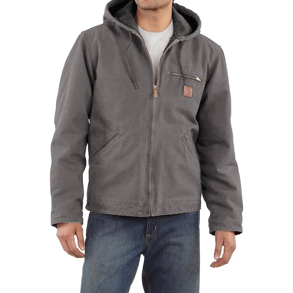 Imbracaminte Barbati Carhartt Sandstone Sierra Jacket - Sherpa Pile Lining (For Big Men) GRAVEL (09)