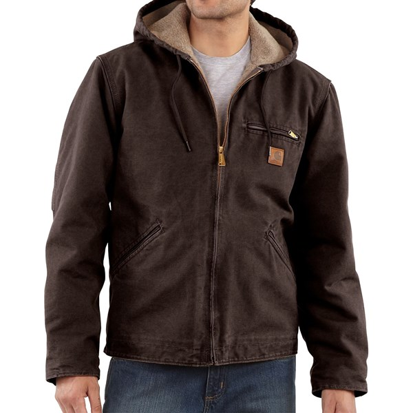 Imbracaminte Barbati Carhartt Sandstone Sierra Jacket - Sherpa Pile Lining (For Big Men) LIGHT BROWN (14)