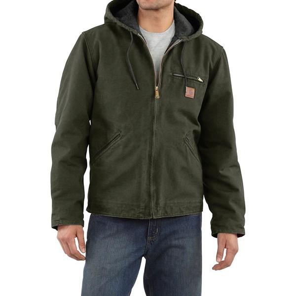 Imbracaminte Barbati Carhartt Sandstone Sierra Jacket - Sherpa Pile Lining (For Big Men) MOSS (15)