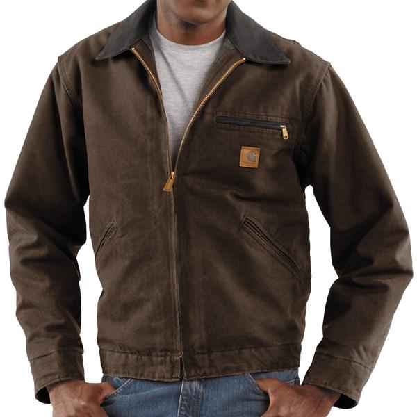 Imbracaminte Barbati Carhartt Sandstone Detroit Jacket - Blanket-Lined (For Tall Men) DARK BROWN (40)
