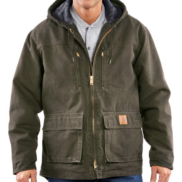Imbracaminte Barbati Carhartt Sandstone Jackson Coat - Sherpa-Lined (For Big Men) ARMY GREEN (03)
