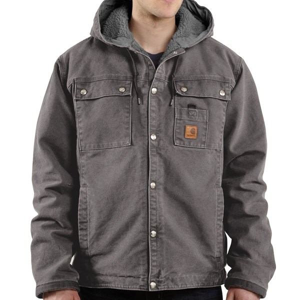 Imbracaminte Barbati Carhartt Sandstone Hooded Multi-Pocket Jacket - Sherpa Lined (For Big Men) GRAVEL (08)