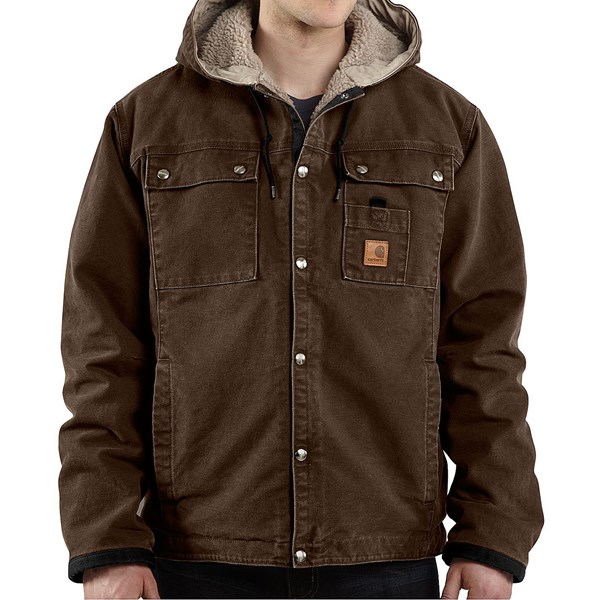 Imbracaminte Barbati Carhartt Sandstone Hooded Multi-Pocket Jacket - Sherpa Lined (For Big Men) DARK BROWN (09)