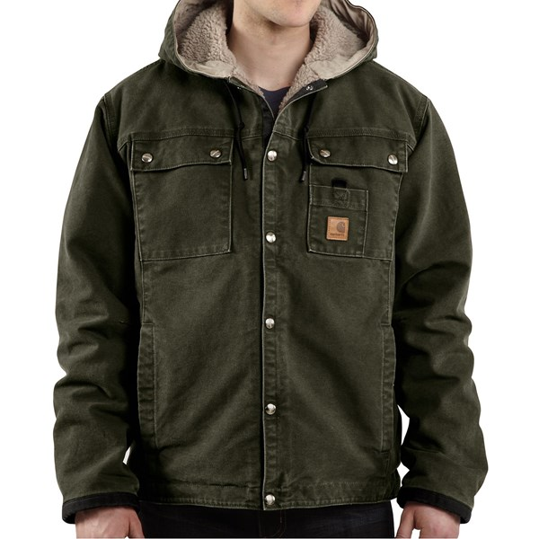 Imbracaminte Barbati Carhartt Sandstone Hooded Multi-Pocket Jacket - Sherpa Lined (For Big Men) MOSS (02)