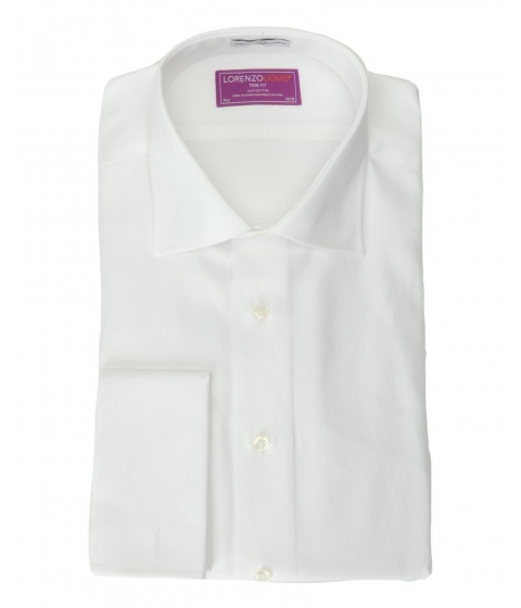 Imbracaminte Barbati Lorenzo Uomo White Slim Fit French Cuff Textured Dress Shirt White
