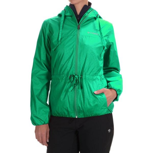 Imbracaminte Femei Columbia Auroras Wake II Omni-Shield Rain Jacket DARK LIME FLOWER EMBOSS (16)