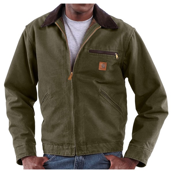Imbracaminte Barbati Carhartt Sandstone Detroit Jacket - Blanket Lining (For Big Men) ARMY GREEN (08)
