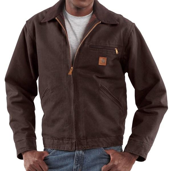 Imbracaminte Barbati Carhartt Sandstone Detroit Jacket - Blanket Lining (For Big Men) DARK BROWN (40)