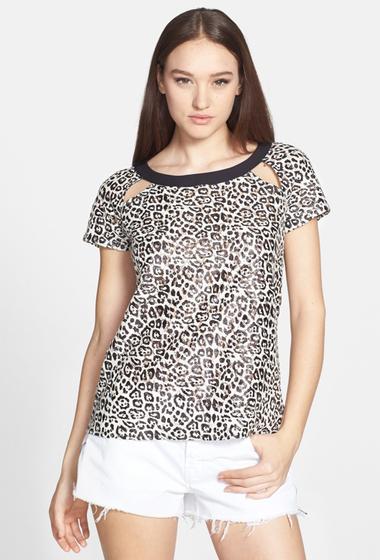 Imagine indisponibila pentru Imbracaminte Femei Ro De Leopard-Print Lace Tee BLACK CREAM CLOUD COMBO
