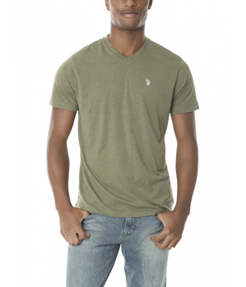 Imbracaminte Barbati US Polo Assn Solid V Neck Tee OLIVE GREEN HEATHER