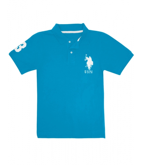 Imbracaminte Barbati US Polo Assn Pique Mesh Big Logo Polo Shirt TEAL BLUE WHITE