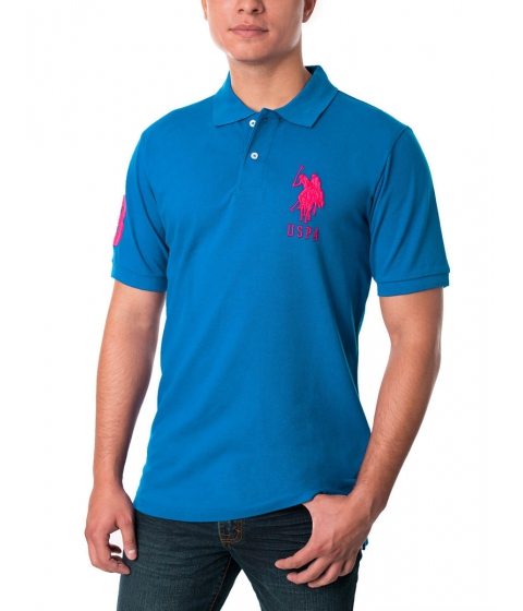 Imbracaminte Barbati US Polo Assn Pique Mesh Big Logo Polo Shirt AUTUMN TEAL