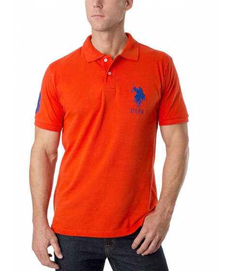 Imbracaminte Barbati US Polo Assn Pique Mesh Big Logo Polo Shirt Harvest OrangeBlue