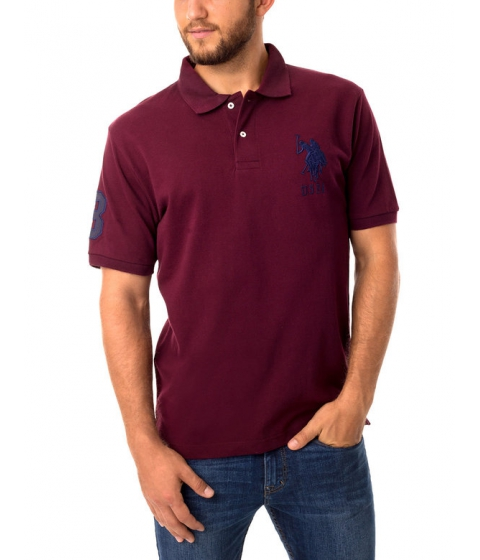 Imbracaminte Barbati US Polo Assn Pique Mesh Big Logo Polo Shirt NEW BURGUNDY