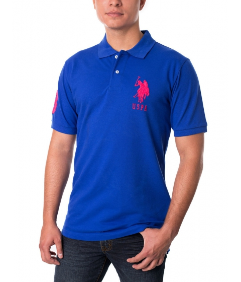 Imbracaminte Barbati US Polo Assn Pique Mesh Big Logo Polo Shirt COBALTBLUEPINKCLASH