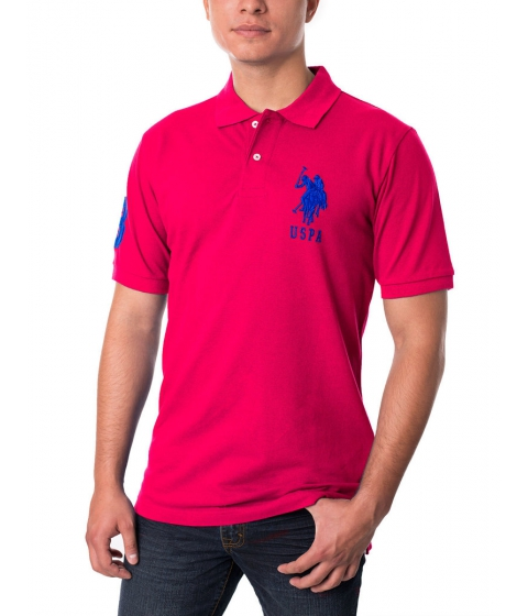Imbracaminte Barbati US Polo Assn Pique Mesh Big Logo Polo Shirt Pink Clash