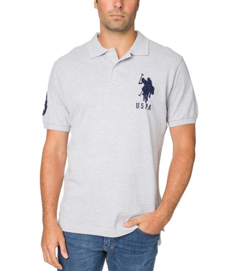 Imbracaminte Barbati US Polo Assn Pique Mesh Big Logo Polo Shirt Heather Light gray