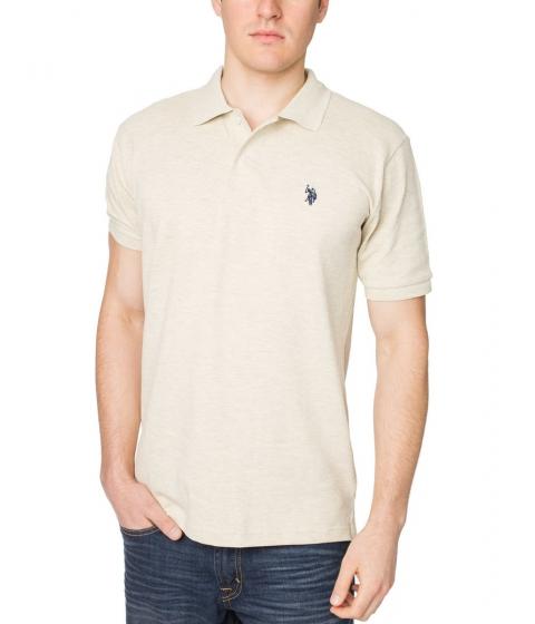 Imbracaminte Barbati US Polo Assn Pique Mesh Small Logo Polo Shirt Heather OatmealNavy