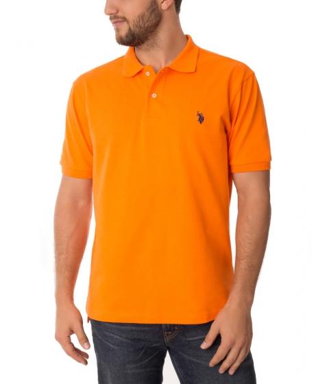 Imbracaminte Barbati US Polo Assn Pique Mesh Small Logo Polo Shirt ORANGE SUNSET