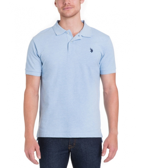 Imbracaminte Barbati US Polo Assn Pique Mesh Small Logo Polo Shirt YALE BLUE HEATHER