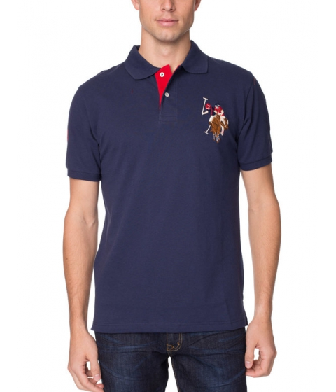 Imbracaminte Barbati US Polo Assn Pique Mesh Multi-Color Logo Polo Shirt Classic Navy