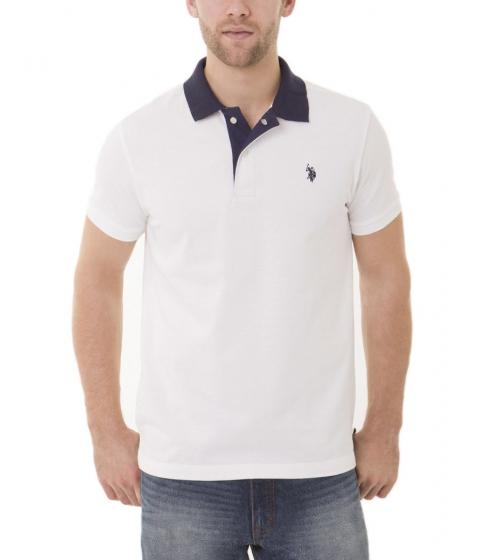 Imbracaminte Barbati US Polo Assn Slim Fit Pique Mesh Small Logo Polo Shirt White