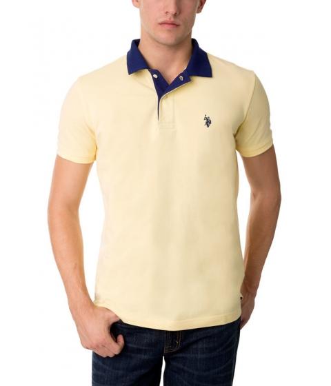 Imbracaminte Barbati US Polo Assn Slim Fit Pique Mesh Small Logo Polo Shirt Lemon Frost