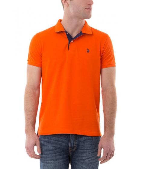 Imbracaminte Barbati US Polo Assn Slim Fit Pique Mesh Small Logo Polo Shirt LIGHTHOUSE ORANGE