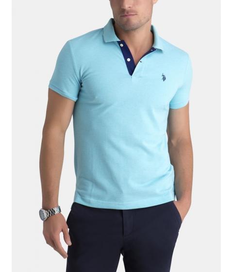 Imbracaminte Barbati US Polo Assn Slim Fit Pique Mesh Small Logo Polo Shirt CAPRI HEATHER