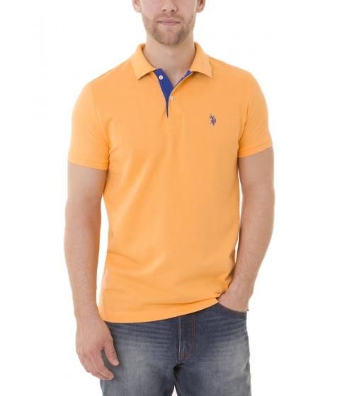 Imbracaminte Barbati US Polo Assn Slim Fit Pique Mesh Small Logo Polo Shirt SUMMER SCHOOL ORANGE