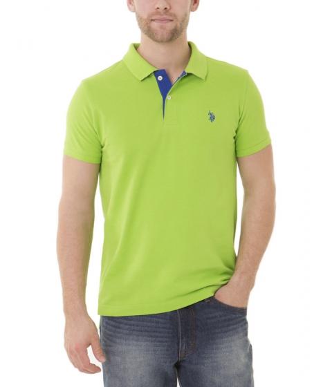 Imbracaminte Barbati US Polo Assn Slim Fit Pique Mesh Small Logo Polo Shirt SUMMER LIME