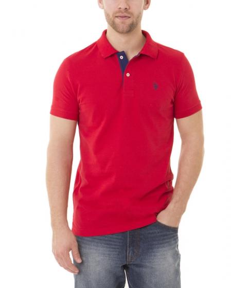 Imbracaminte Barbati US Polo Assn Slim Fit Pique Mesh Small Logo Polo Shirt WINNING RED