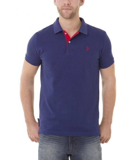 Imbracaminte Barbati US Polo Assn Slim Fit Pique Mesh Small Logo Polo Shirt Marina Blue