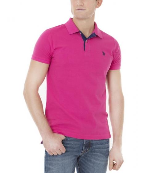 Imbracaminte Barbati US Polo Assn Slim Fit Pique Mesh Small Logo Polo Shirt CARIBBEAN PINK