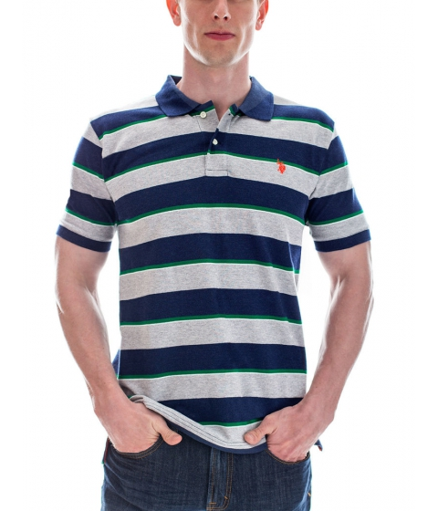 Imbracaminte Barbati US Polo Assn Striped Small Logo Polo Shirt MIDNIGHT HEATHER