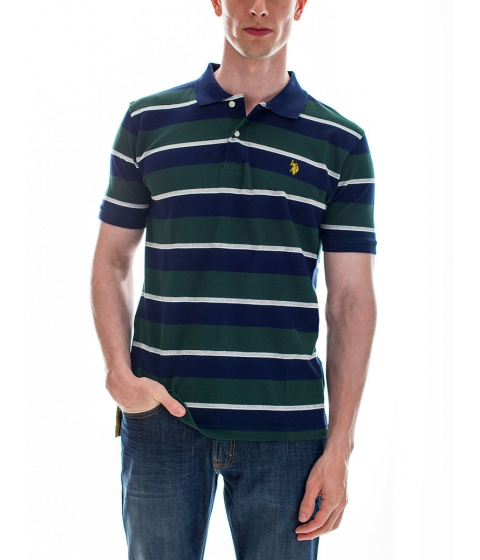 Imbracaminte Barbati US Polo Assn Striped Small Logo Polo Shirt PARK GREEN