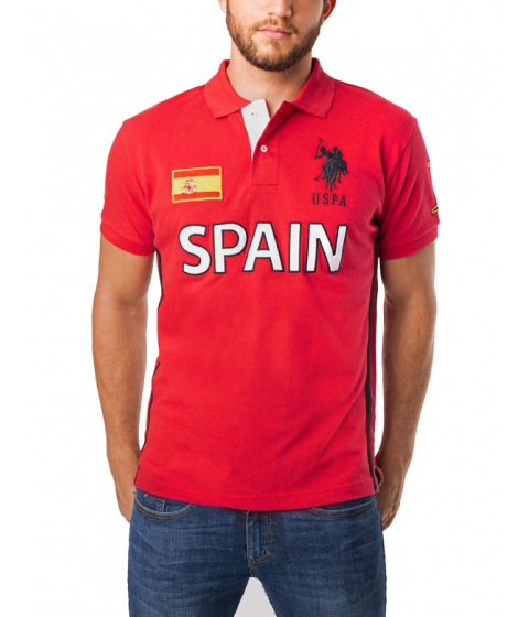 Imbracaminte Barbati US Polo Assn Slim Fit Spain Polo Shirt Engine Red